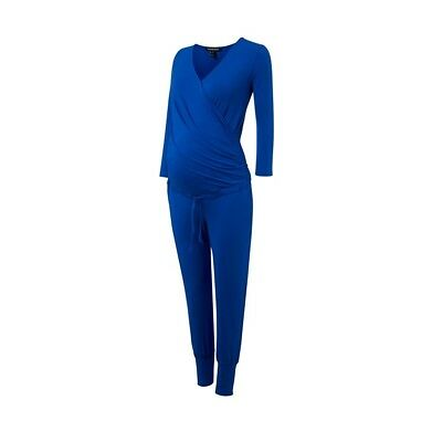 New Isabella Oliver Maternity Cobalt Blue Rosliston Jumpsuit Sz 2 Small US 4/6