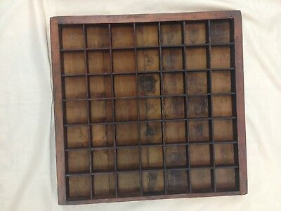 """Antique Vintage Hand Made 16"""" x 16"""" Wood 49 Compartment Shadow Display Box"""