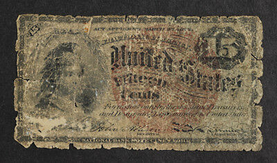 1863 United States 15 Cents Fourth Issue Fractional Currency Banknote