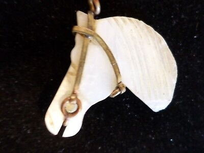 Vintage / Antique Carved Horse Head Pendant With Brass Bridle MOP Unique Shell