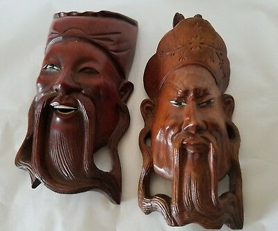 RARE 2 SMALL Vintage Wooden Carved Chinese Emperors Masks Glass Eyes AS FOUND
