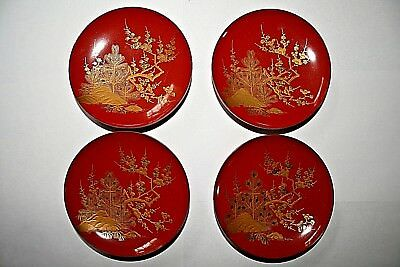 Beautiful Set of 4 Japanese Lacquer Dishes. Showa period. 11cmx11cm