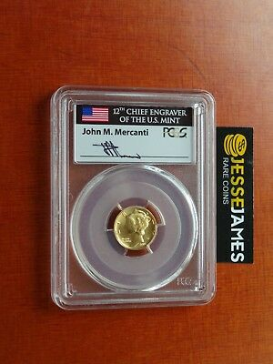 2016 W Mercury Dime Gold Pcgs  Sp70 Mercanti Signed First Day Of Issue Fdi Label