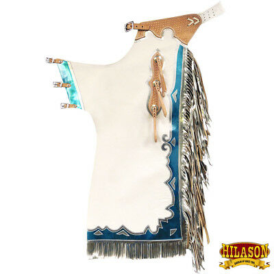 Ch228N-F Hilason Bull Riding Genuine Leather Rodeo Western Chaps - White