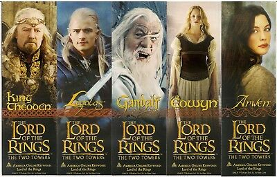 Lord of the Rings - The Two Towers Movie Set of (5) 2-Sided Bookmarks 2002