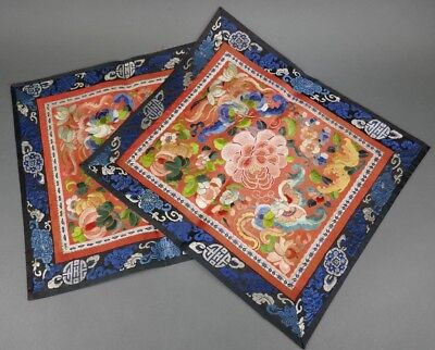 Fine Old Chinese Pair Silk Embroidery Badge Banner Robe Scholar Art #4