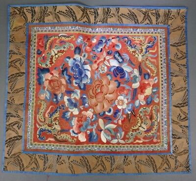 Fine Old Chinese Silk Embroidery Badge Banner Robe Scholar Art #7