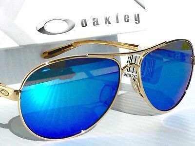NEW* Oakley FEEDBACK Gold AVIATOR POLARIZED Sapphire Women's Sunglass 4079-59