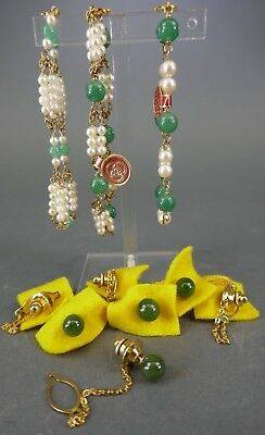 Fine Old Chinese Lot Jade and Pearls Jewelry Scholar Work Of Art