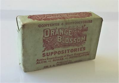1930s antique UNUSED female vaginal SUPPOSITORIES ORANGE BLOSSOM quack med