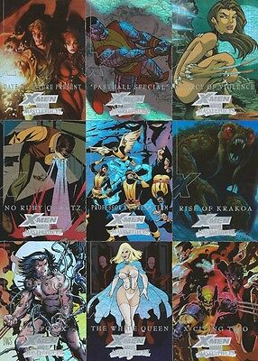"2008 Marvel Masterpieces 3 Complete 9 Card SILVER ""X-MEN"" Insert Set"