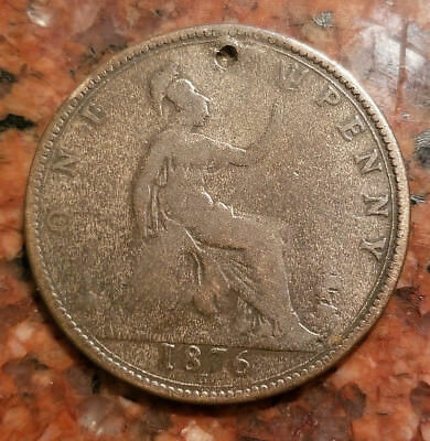 1876-H Great Britain One Penny Coin - Bronze - Young Victoria - #2826
