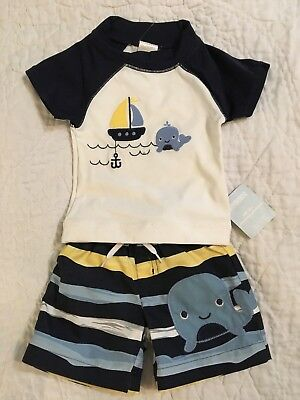 NEW GYMBOREE Baby Infant Boy Whale Swim Set Lot Trunks Rashguard size 0-3 mos