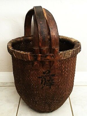 Antique Early 20Th Chinese Woven Willow Rice Basket Overlapping Elm Wood Handle