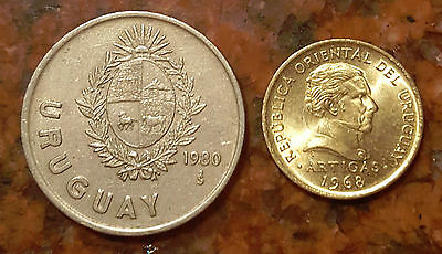 Lot Of (2) Uruguay Coins - F324