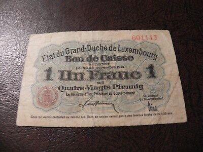 1914 Luxembourg Un One 1 Franc Note P-21 World Currency Banknote