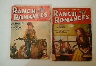 Lot Of 2 Ranch Romances Vintage Western Pulp Magazines Old West Love & Bullets