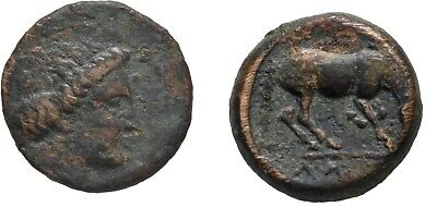 Ancient Greece 4 cent BC THESSALY LARISSA NYMPH DICHALKON HORSE