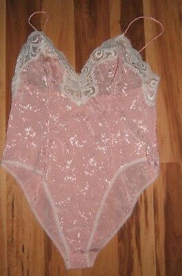 Vtg Light Pink Delicates Satin Teddy Size L