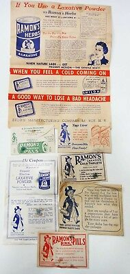 LOT vintage 6pc QUACK MEDICINE w/CONTENTS RAMONS PILLS brown co LEROY NY samples
