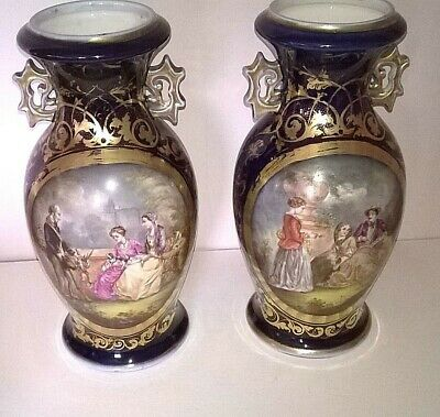 PAIR OF EARLY 19th CENTURY FRENCH HAND PAINTED COBALT & GILT SEVRES STYLED VASES