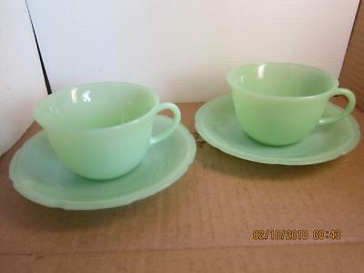 """Vintage Fire-King Jadeite """" Alice """" Pattern CUP AND SAUCER sets of 2"""