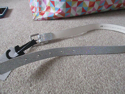 BNWT H&M Girls Toddler Belt Silver Sparkle Glitter Stars Party 55in