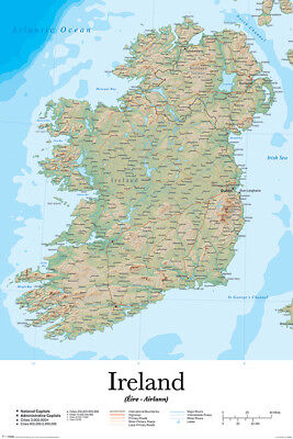 MAP Of Ireland Educational POSTER (61x91cm) New Print Art