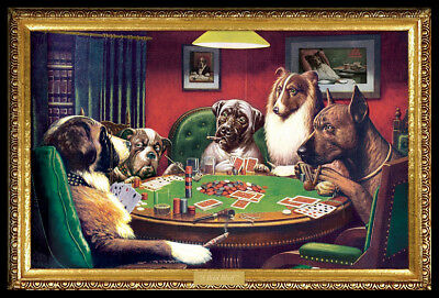 (FRAMED) Coolidge Dogs Playing Poker POSTER (66x96cm) NEW Print Art