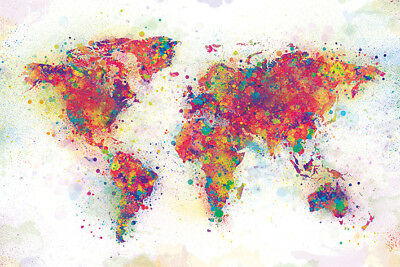 (LAMINATED) Map of the World Colour Splash Color POSTER (61x91cm) NEW Print Art