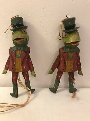 2 Frog Jumping Jack / Pull Toy Ornaments Work Great Super Cute