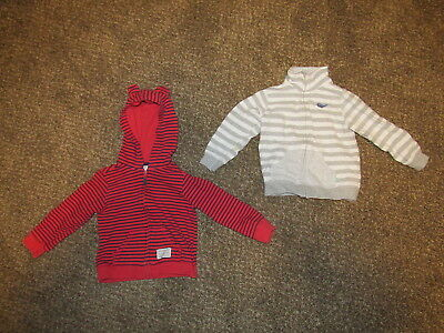 Set of two Carter's 24 Month Jackets, Stripes, Hood, Red & Blue, Gray & White