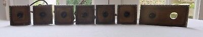 Job lot antique toggle brass light switches with enamel back X 6 + 1, bronze