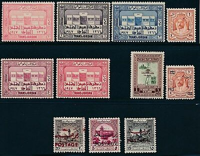 Jordan **(11) MH ISSUES (1942-53)** ALL SOUND - NICE STAMPS **GOOD VALUE**