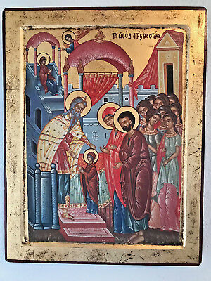Antique Russian  Greek Orhodox Riligious Icon on gold leaf paint 24k