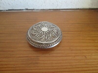 Antique Beautiful Fine Filigree Detailed Indian Silver Compact - Floral Design
