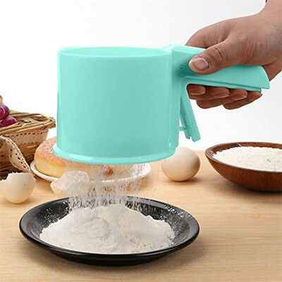 Plastic Flour Mechanical Sifter Baking Icing Sugar Mesh Shaker Kitchen Tool New