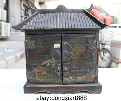 14 Chinese Wood Handwork Carved Painted pattern ancient building cabinet niche