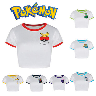 5374c610144cf Pokemon Womens Crop Top Girls Cropped T Shirt Tee Fashion Pokemon Go Anime