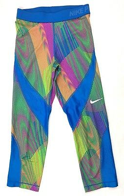 Nike Pro Womens Hypercool Frequency Capri Tights Training Pants Blue XS 725475
