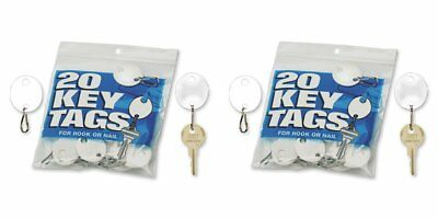MMF Industries Snap-Hook Key Tags, Plastic, 1.25 Inches Height, White, 20 per 2