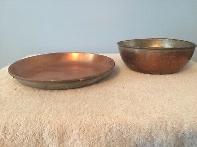Used Antique Vintage Lot Of Two (2) Heavy Hammered Copper Bowls / Dishes Round