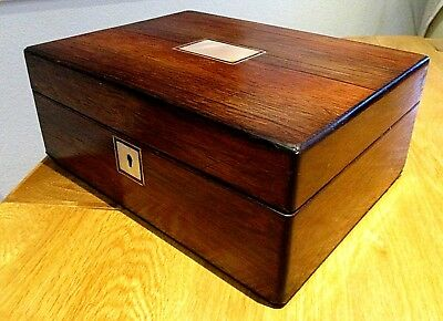 Victorian Rosewood Veneer Sewing/jewellery Box,m.o.p.lovely Red Lined Interior.