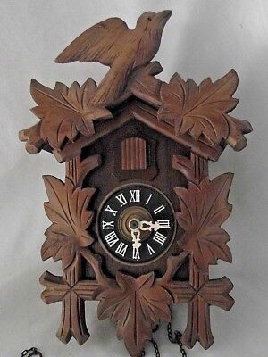 German Cuckoo Clock Wood Carved Wall Black Forest Weights Birds Leaves Vintage