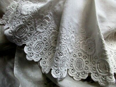 Rare Antique Victorian Dimension Embroidery Pansy Tiny Flower Lace Flounce Trim