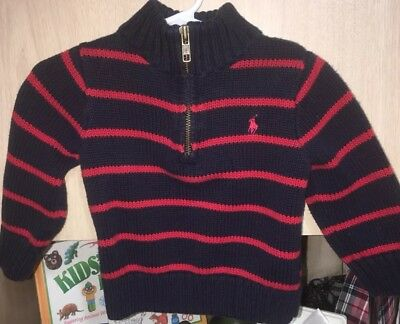 ralph lauren polo Navy Red Stripe Toddlers Sweater Boys  18m