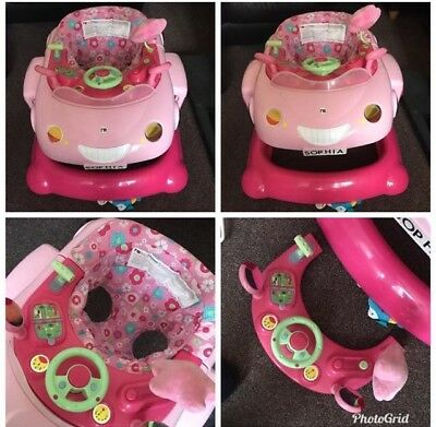 c05012a44 MOTHERCARE PINK CAR Baby 3 in 1 Walker bouncer - £14.99