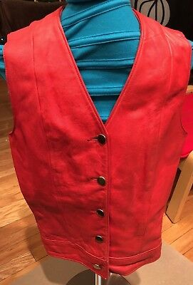 Vintage Cynthia Ann Mauck Red Leather Vest
