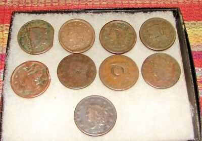 Collection of 9  US Large Cents NR