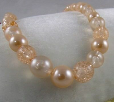 """Peach Champagne Pearl & Clear Bead Strand Necklace 19"""""""